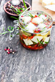 White  cheese cubes and herbs dipped in olive oil in small jar o Royalty Free Stock Images