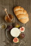 White cheese with figs and bread Royalty Free Stock Photo