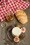 White cheese with figs and bread Stock Image