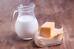 White cheese and milk Royalty Free Stock Images