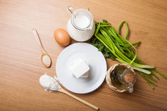 White cheese, milk, egg, olive oil, green onion and spices - ing Stock Images
