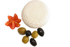 White cheese and olives Stock Photography