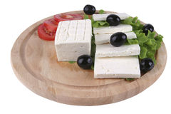 White cheese with olives and tomato Royalty Free Stock Image