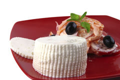 Free White Cheese On Red Dish Royalty Free Stock Image - 10063716