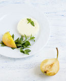 White cheese and pears Royalty Free Stock Photography