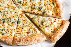 White Cheese Pizza. Closeup of White Cheese Spinach Pizza Stock Photos