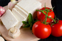 White cheese with tomato Royalty Free Stock Images