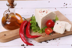White cheese with tomatoes and hot pepper Stock Photography
