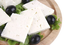 White cheese on wooden Stock Images