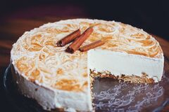 White Cheesecake on Wooden Surface Stock Images