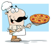 White Chef Carrying A Pizza Pie On A Stove Shovel. Cartoon Chef Carrying A Pizza Pie On A Stove Shovel vector illustration