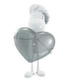 White chef character with transparent heart Royalty Free Stock Image