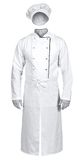 White chef jacket with apron and hat isolated on white backgroun Stock Photo