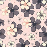 White cherry blossom flowers seamless  pattern. Stock Photography