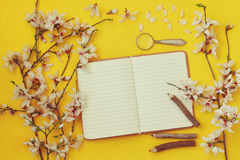 White cherry blossoms tree and open notebook Stock Images