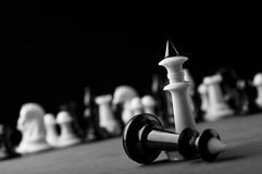 White chess agains black Royalty Free Stock Image