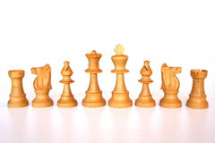 White chess army. Set of white chess pieces ready for the game Stock Images