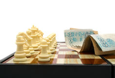 White chess figures on a board Royalty Free Stock Photography
