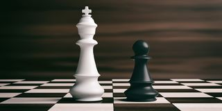 White chess king and black pawn on a chessboard. 3d illustration. White chess king and black pawn soldier on a chessboard. 3d illustration Royalty Free Stock Photography