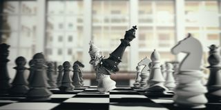 White chess king broken by the black king, on a chessboard, blur background. 3d illustration. Chess victory for black. White chess king broken by the black king Stock Photo