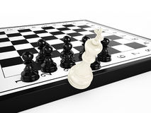White chess king falls from a chessboard surrounded by black chess pawns. 3d render Royalty Free Stock Photography