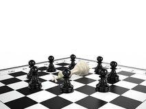 The white chess king lies surrounded by black chess pawns on a chessboard. 3d render Royalty Free Stock Photos