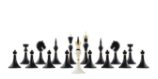 White chess king opposite to black ones Royalty Free Stock Photos