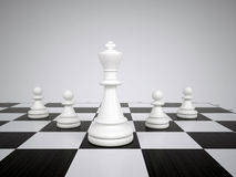 White chess king and pawns Royalty Free Stock Image