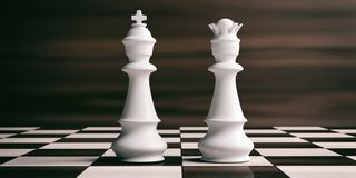 White chess king and queen on a chessboard. 3d illustration. White chess king and queen on a chess board, brown wooden background. 3d illustration Royalty Free Stock Image