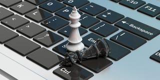 White chess king standing, black king down broken, on a computer. 3d illustration stock illustration