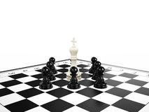 White chess king surrounded by black chess pawns on a chessboard. 3d render Stock Images