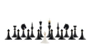 White chess pawn opposite to black ones Stock Photography