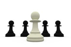 White chess pawn standing with black pieces Stock Images