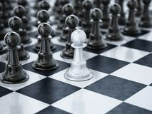 White chess pawn standing one square ahead of black chess pieces. 3D illustration stock illustration