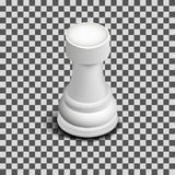 White chess piece rook isometric, vector illustration. Stock Photo