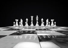 White chess pieces. Arranged in game starting position on marble board Stock Photo