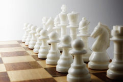 White chess pieces. Close-up photography Royalty Free Stock Images