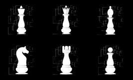 White chess pieces on black abstract background. Vector Royalty Free Stock Photography