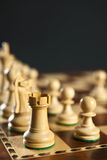 White chess pieces on board Royalty Free Stock Images