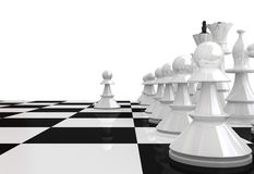 White chess pieces - 3D render Royalty Free Stock Photography