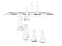 White chess pieces isolated on a white background. 3d rendering.  Stock Photos
