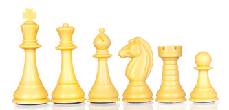 White chess pieces in order of decreasing Stock Images