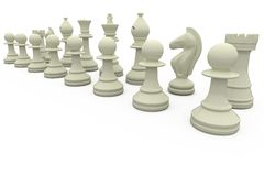 White chess pieces in a row Stock Image