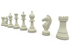 White chess pieces in a row Royalty Free Stock Image