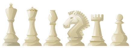 White chess pieces in a row Stock Photography
