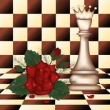 White Chess Queen and red rose Stock Photo