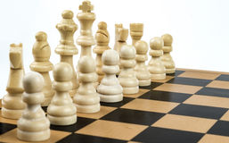 White Chess Team. Close up of a set of white chess figures Royalty Free Stock Image