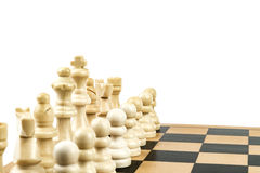 White Chess Team. White chess figures set up to start a game Royalty Free Stock Images