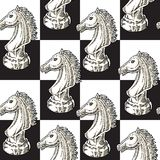 White Chessman Knight Seamless Pattern. On a Black and White Chess Board Background Stock Photos