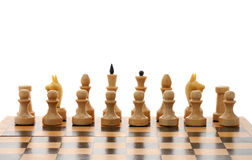 White chessmen on wooden chessboard Royalty Free Stock Photo